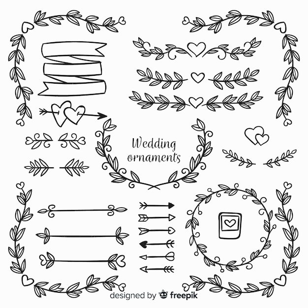 Set de adornos de boda dibujados vector gratuito
