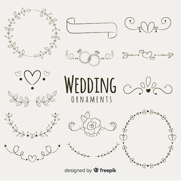 Set de adornos dibujados de boda vector gratuito