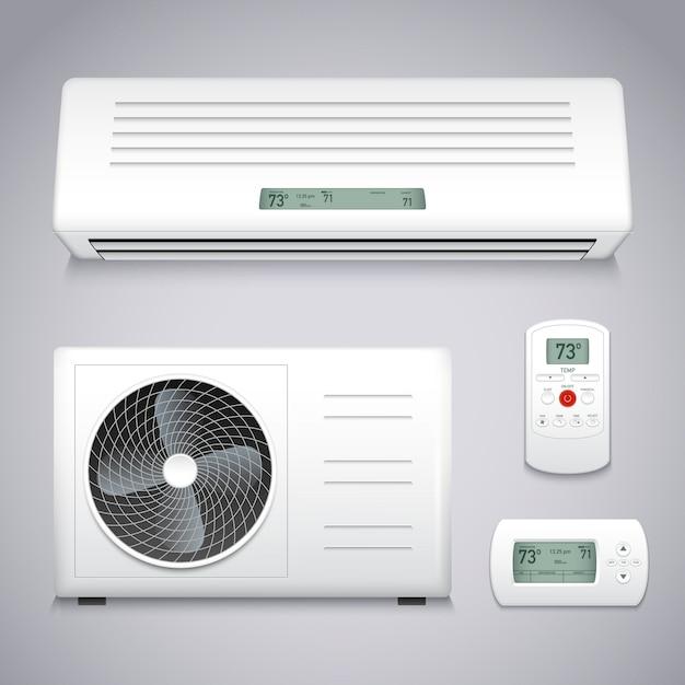 Set de aire acondicionado vector gratuito