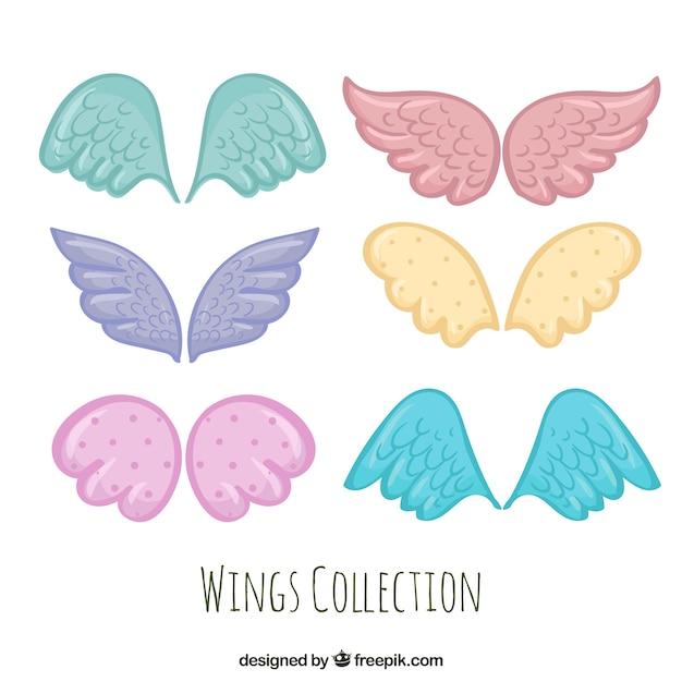 Set de alas de colores dibujados a mano vector gratuito