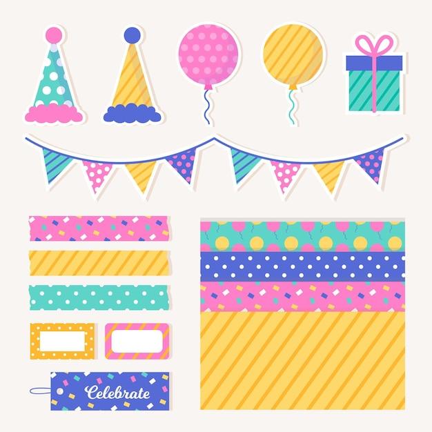 Set de álbum de recortes de cumpleaños vector gratuito