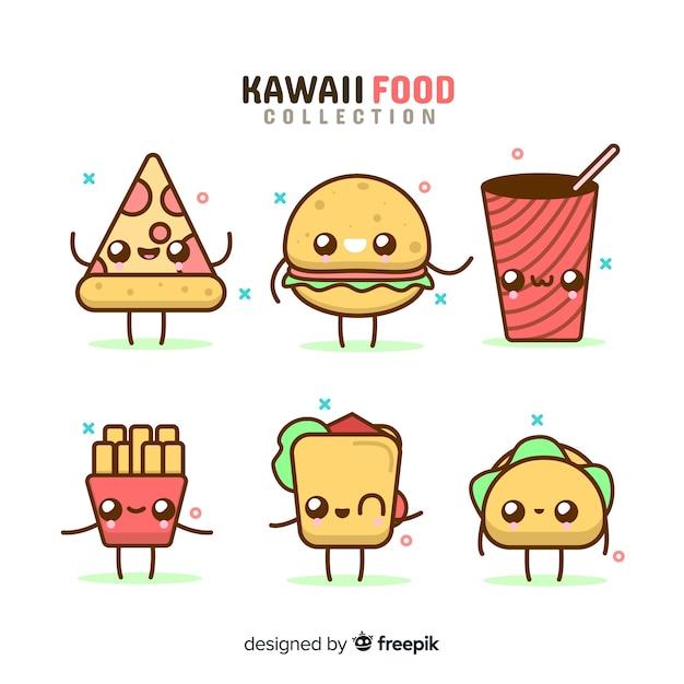 Set de alimentos en estilo kawaii vector gratuito