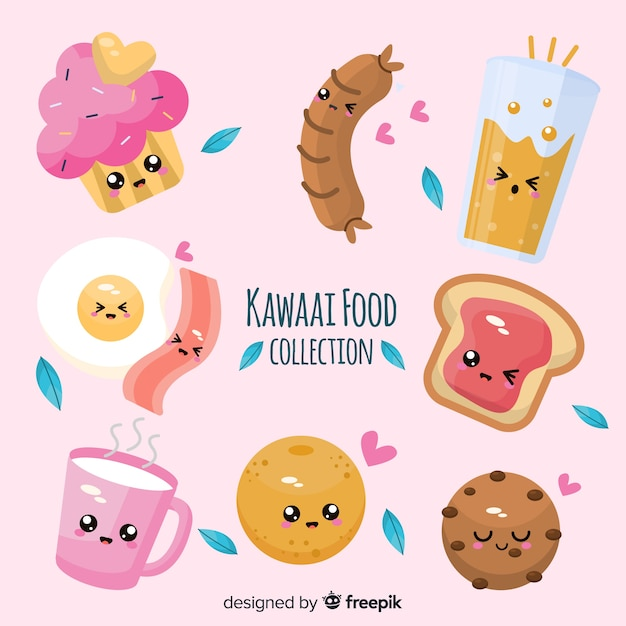 Set de alimentos de estilo kawaii Vector Premium