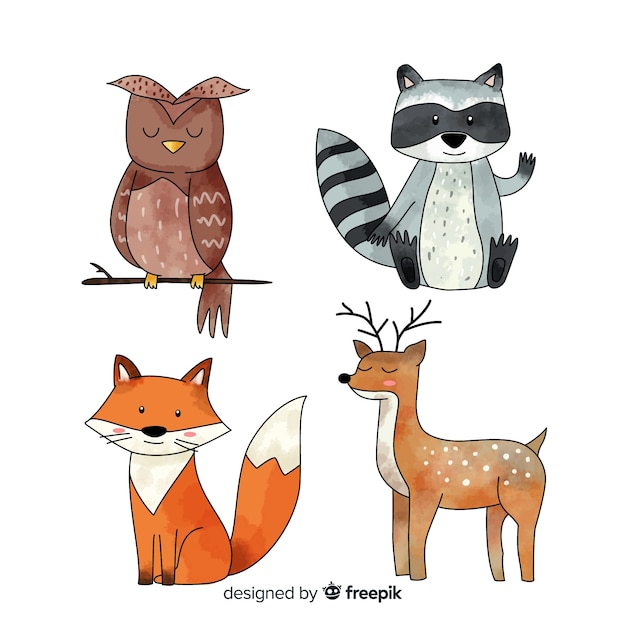 Set de animales del bosque en invierno vector gratuito