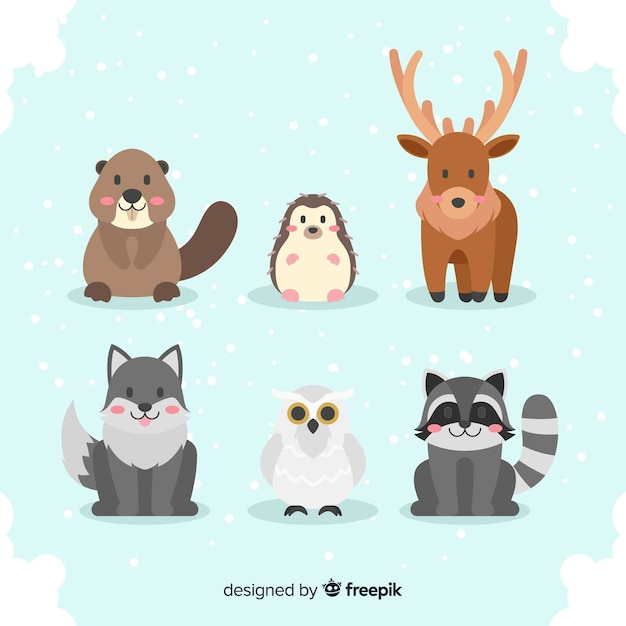 Set de animales del bosque en invierno vector gratuito