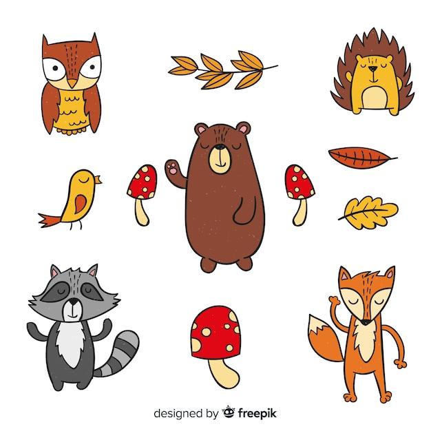 Set de animales de bosque otoñal dibujados vector gratuito