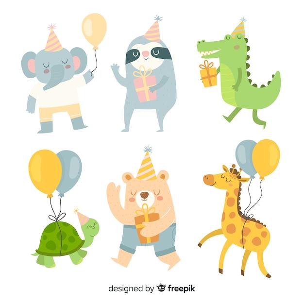 Set de animales de cumpleaños vector gratuito