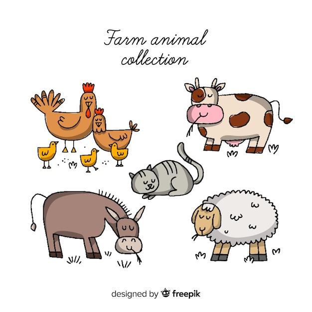 Set de animales de granja vector gratuito