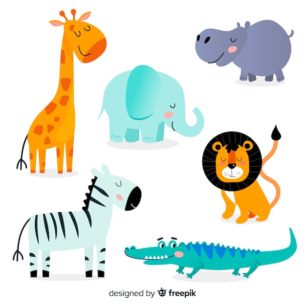 Set de animales tropicales dibujados Vector Premium