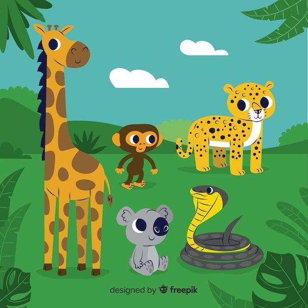 Set de animales tropicales vector gratuito