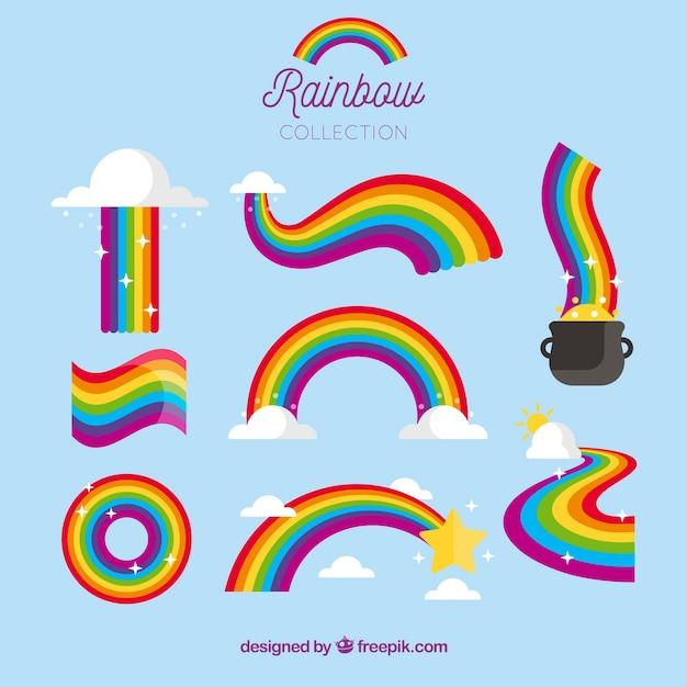 Set de arcoiris colorido vector gratuito