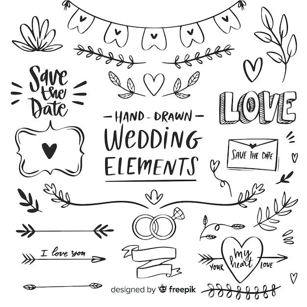 Set de artículos de boda vector gratuito