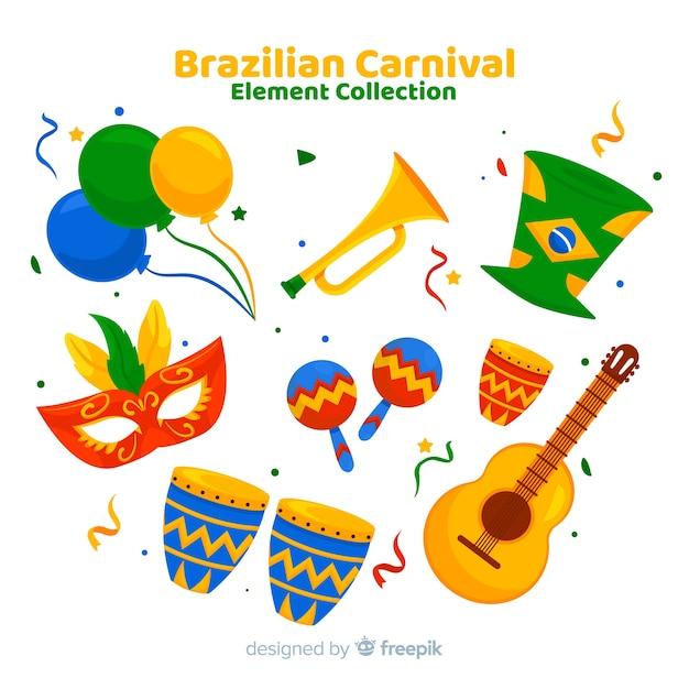 Set de artículos del carnaval de brasil vector gratuito