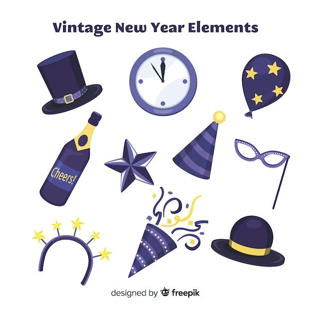 Set de artículos de fiesta para año nuevo vector gratuito