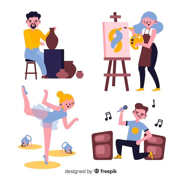 Set de artistas de diferentes disciplinas. pintor, bailarina, artesano y cantante vector gratuito