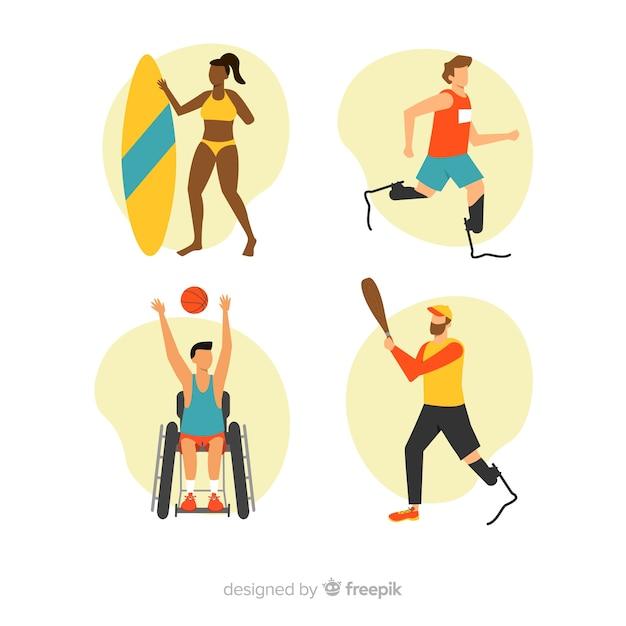 Set de atletas con discapacidad vector gratuito