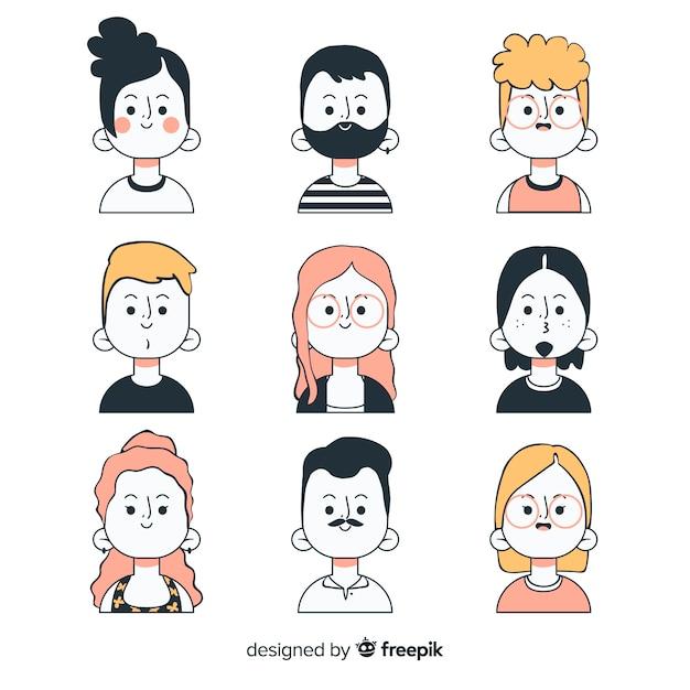 Set de avatares dibujados de personas vector gratuito