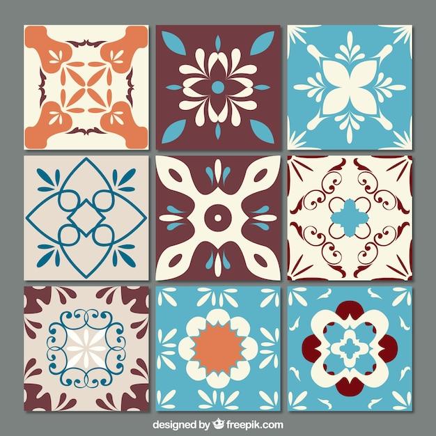 Set De Azulejos Ornamentales Descargar Vectores Gratis - Azulejos-con-dibujos