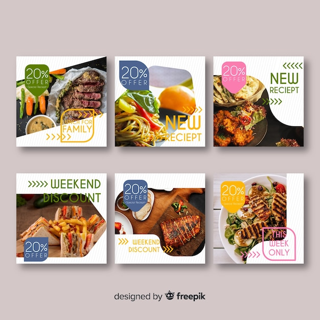 Set banner de comida cuadrados fotográficos vector gratuito
