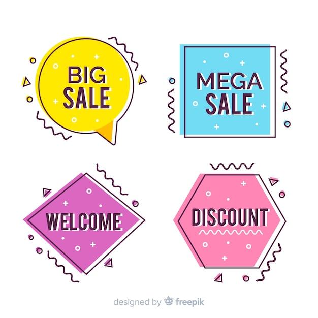 Set banner de rebajas estilo memphis coloridos vector gratuito