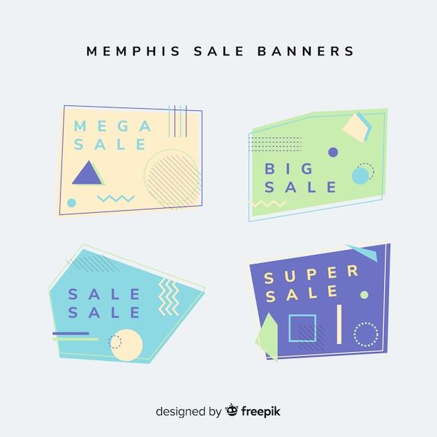 Set banner rebajas estilo memphis vector gratuito