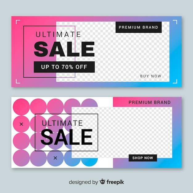 Set de banners abstractos de rebajas con imagen vector gratuito