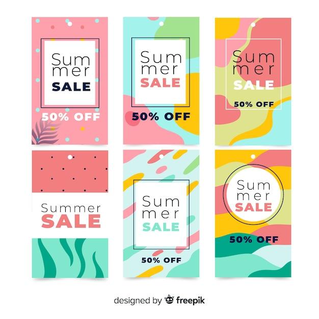 Set de banners coloridos de rebajas de verano vector gratuito