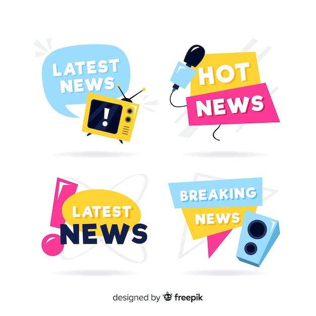 Set de banners coloridos de últimas noticias vector gratuito