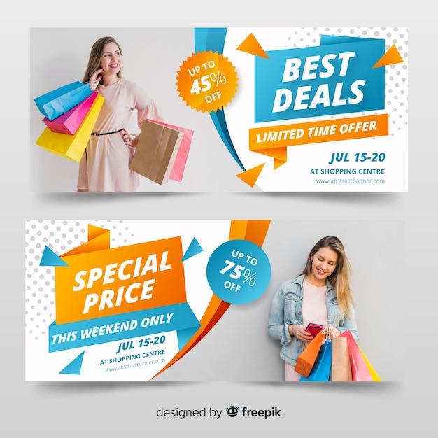Set de banners de compra de ropa vector gratuito