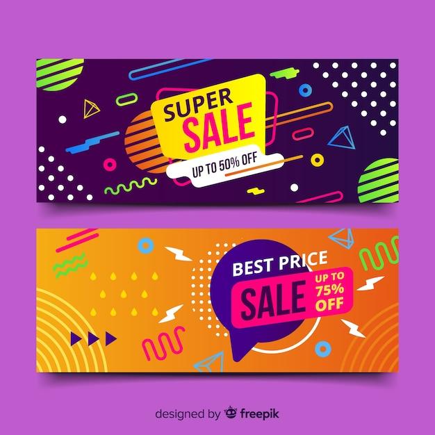 Set de banners de compras de estilo memphis vector gratuito