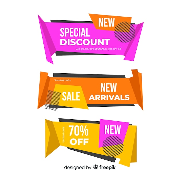 Set de banners de compras de estilo origami vector gratuito