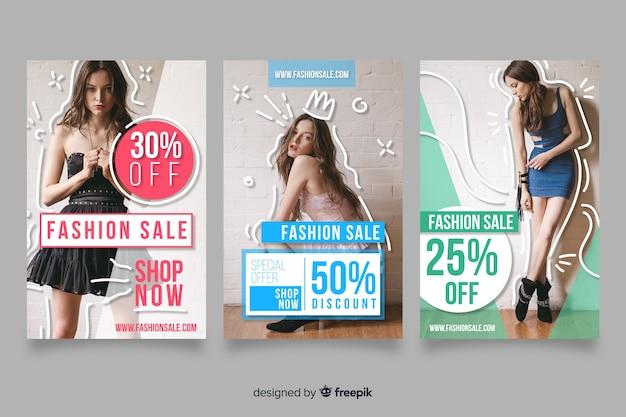 Set de banners de compras de moda vector gratuito