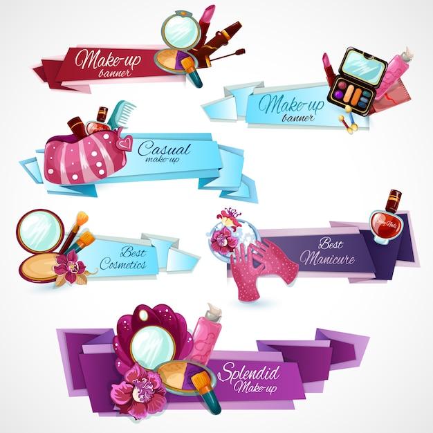 Set de banners de cosméticos vector gratuito