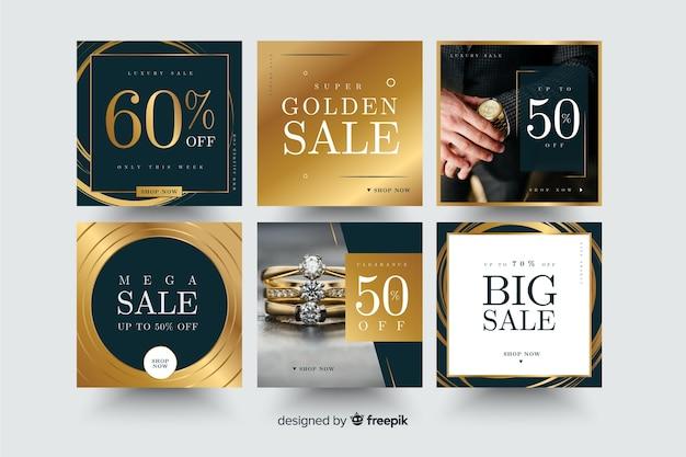 Set de banners cuadrados promocionales vector gratuito