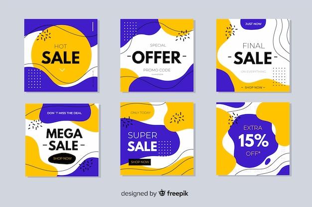 Set de banners dibujados de rebajas vector gratuito