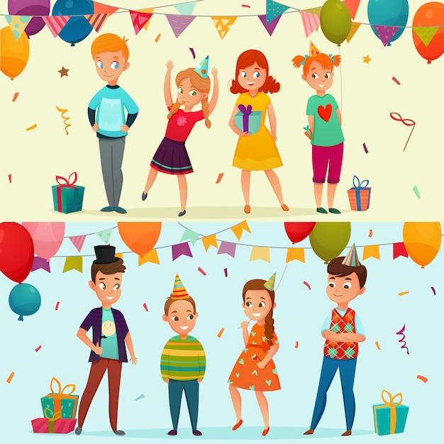 Set de banners fiesta de niños vector gratuito