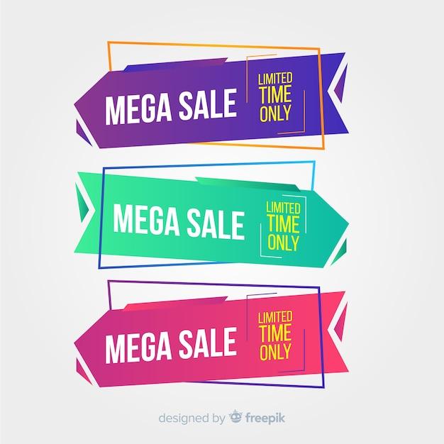 Set de banners geométricos de compras vector gratuito
