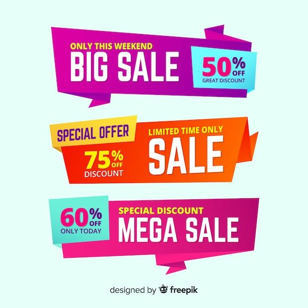 Set de banners con grandes ofertas y descuentos vector gratuito