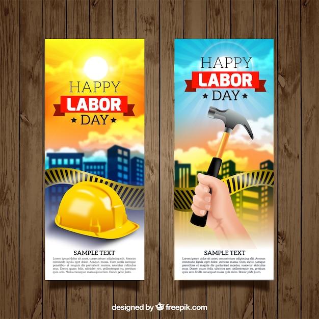 Set de banners ilustrados del día del trabajo vector gratuito