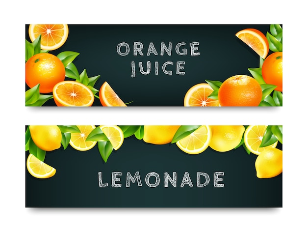 Set de banners de limonada 2 de jugo de naranja vector gratuito