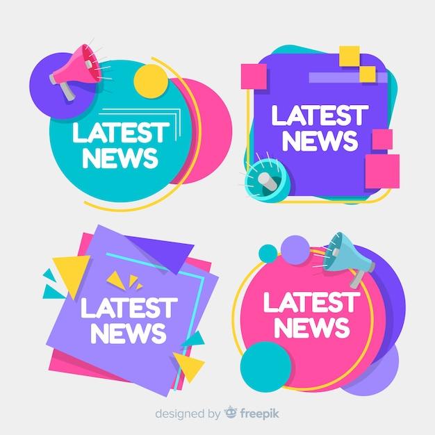 Set de banners de noticias recientes vector gratuito