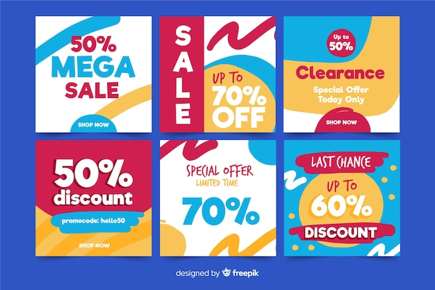 Set de banners de oferta cuadrados para promoción en instagram o redes sociales vector gratuito