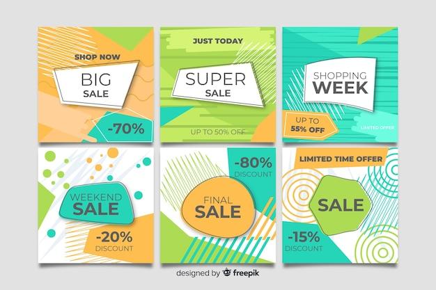 Set de banners de ofertas con formato cuadrado para instagram vector gratuito