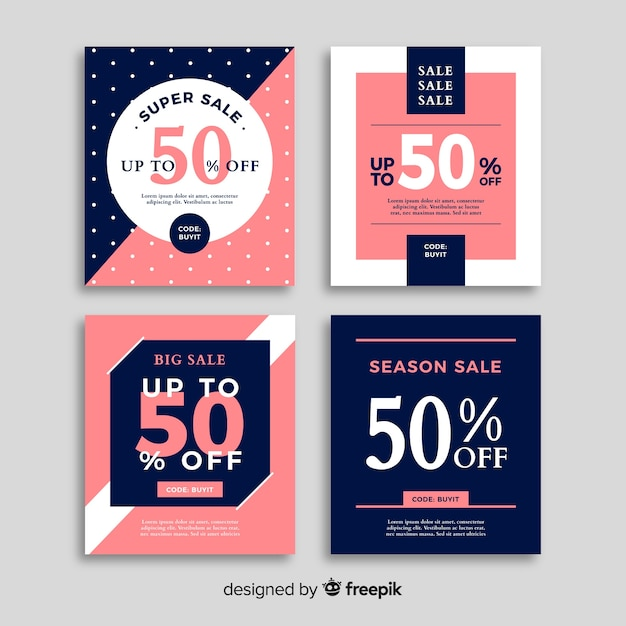 Set de banners online de compras vector gratuito