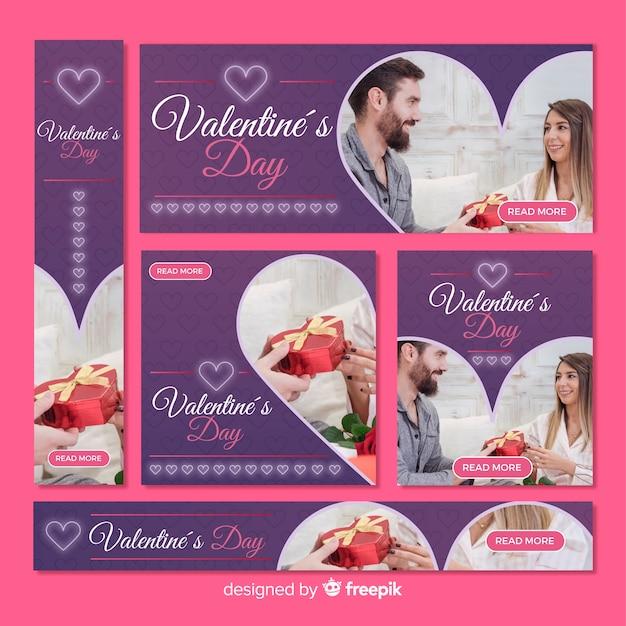 Set de banners online de san valentín vector gratuito