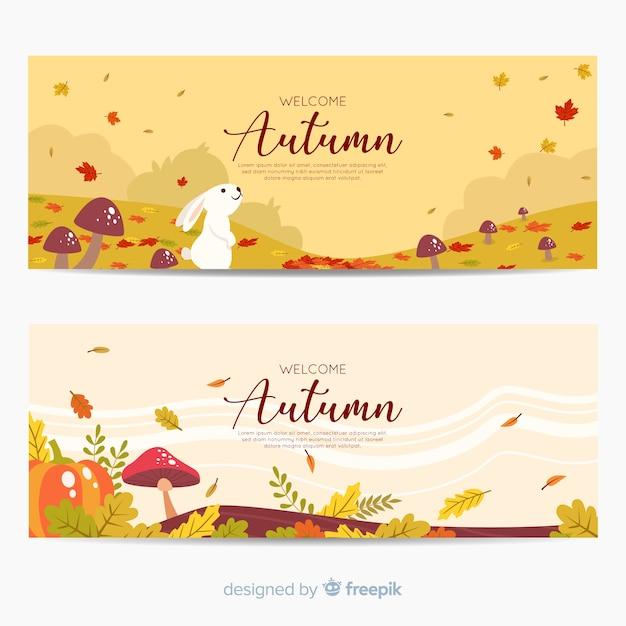 Set de banners otoñales dibujados vector gratuito