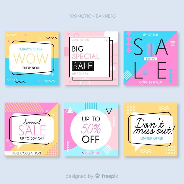 Set de banners promocionales de forma cuadrada vector gratuito