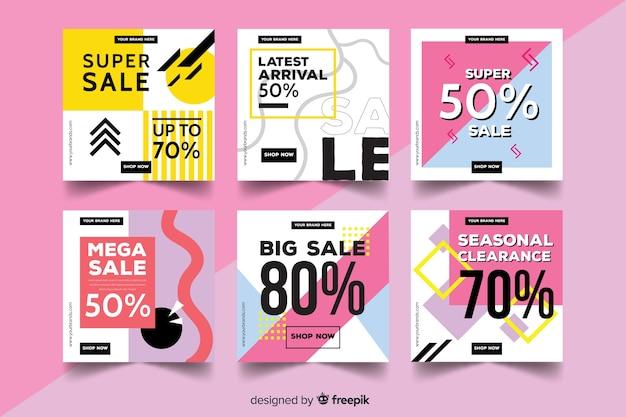 Set de banners promocionales de rebajas para redes sociales vector gratuito