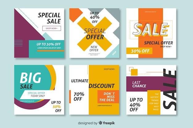 Set de banners promocionales de rebajas vector gratuito