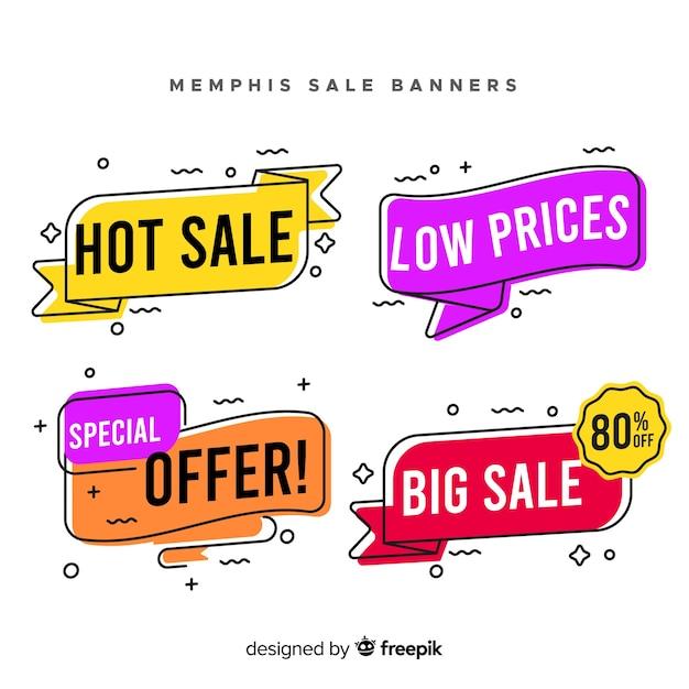 Set de banners de rebajas de estilo memphis vector gratuito